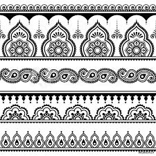 Fotografie Obraz Mehndi Indian Henna Tattoo Seamless Pattern