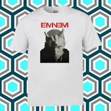 Eminem Horns Domestic Rapper Logo Mens White T Shirt Size