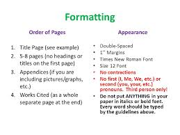 writing the research paper rough draft ppt  formatting order of pages appearance title page see example