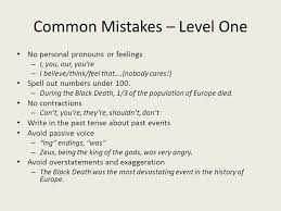 how to write an essay for a history class ppt  common mistakes level one