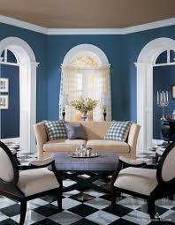 excellent informal brown and blue living room wall painted also traditional sofa set on checd floor in black and white colors installations designs