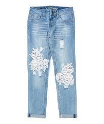 Vigoss Classic Blue Crochet Knee Patch Release Hem Skinny Jeans Girls