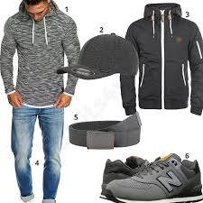 Grauer Street-Style mit Hoodie, Sneaker und Cap   Мужской стиль ...