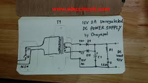 simple 12v 2a dc power supply eleccircuit com schematic diagram of simple 12v 2a dc power supply