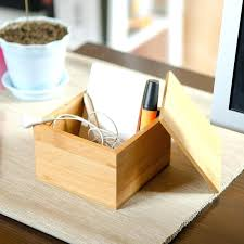 wood desk organizer small bamboo storage box with cover modern style natural wood desk organizer wood