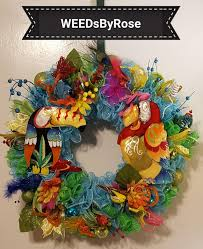 Wreath With Blue Lights Deco Mesh Wreath Blue Mesh Wreath Tropical Bird Deco Mesh