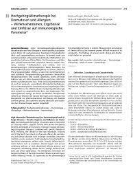 Hochgebirgsklimatherapie bei Dermatosen und Allergien ± Wirkmechanismen,  Ergebnisse und Einflüsse auf immunologische Para