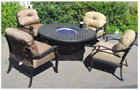 Amazon Com Fire Pit Table Set Elisabeth 5pc Deep Seating Cast Aluminum Patio Furniture Desert Bronze Garden Outdoor