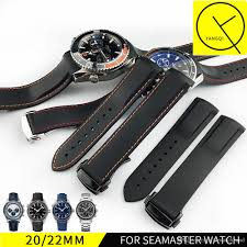 22mm watch strap bands men blue black waterproof silicone rubber watchbands bracelet clasp buckle for omega planet ocean tools