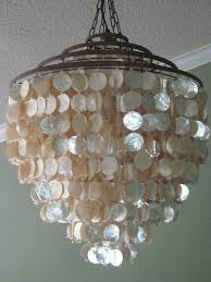 stylish capiz shell chandelier for stunning shimmer seaside coastal ivory
