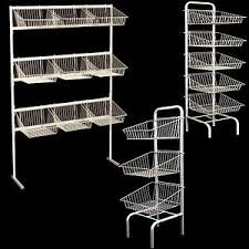 Free Standing Shop Display Units New 100100100 tier free standing white basket unit stands for retail 59