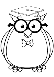Disegno Di Gufo Saggio Con Gli Occhiali E Cappello Da Laureato Da
