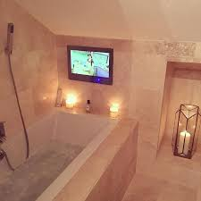 tv in bathroom. bake off and bath time with my 19 inch bathroom television #gbbo #bakeoff # tv in c