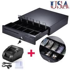 Electronic Cash Register Box Drawer Key Lock + 58mm Receipt Thermal Printer D8U1 ELECTRONIC CASH REGISTER POS