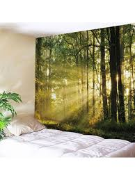 fancy forest sunlight print tapestry wall hanging green w79 inch l59 inch