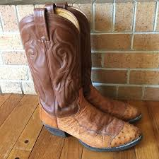 mens tony lama el cowboy ostrich skin leather tan boots