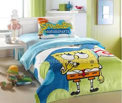 blue spongebob twin velvet bedding