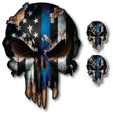 3 pack thin blue line punisher skull