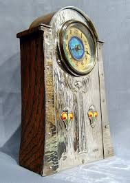 antique silver enamel art nouveau clock in manner of liberty