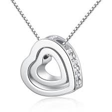 whole xs fashion double heart shaped pendant necklace for women alloy insert crystal heart necklaces whole heart necklaces gold name necklace