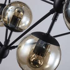 retro industrial loft tea glass globe pendant light black iron chandelier lamp