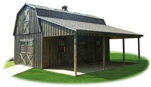 two story work package board n batten gambrel barn with lean to roof