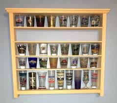 shot glass shelf shot glass wall shelf display case knack rack solid pine ready 2 finish