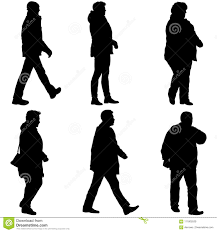 Set Silhouette Of People Walking On White Background Stock Vector