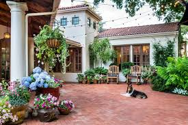 mediterranean outdoor furniture. potted plant ideas patio mediterranean with style house red brick outdoor furniture i
