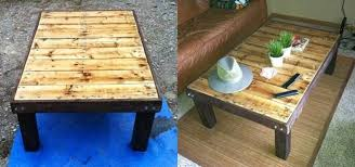 how to make a super coffee stained wood pallet coffee table