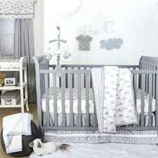 white crib bedding sets grey and white cloud print 3 piece baby crib bedding set by