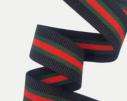 gucci inspired. striped elastic rubber gucci inspired ribbon trim, red green rubbed l