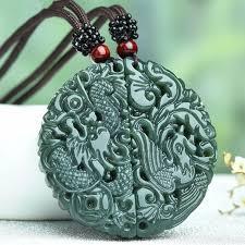 <b>100</b>% <b>Natural Green HETIAN</b> Jade Friendship Pendants Carved ...