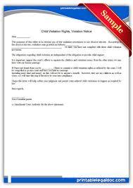 Child Custody Letter Sample Free Printable Child Visitation Rights Viiolation Notice