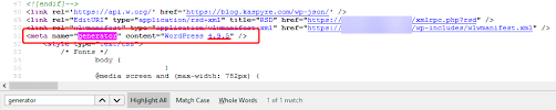 wordpress how to view the version within the source code