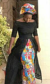 Lace African Dresses Design 2018 Vendredi Blue Lace Top African Prints Skirt And Scarf