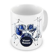personalised drum kit drummer rock band novelty gift mug