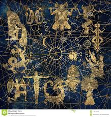 Chart With Characters Of Zodiac Symbols And Solar Signs On