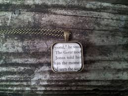the giver necklace made from real book page soon to by thristers 7 00