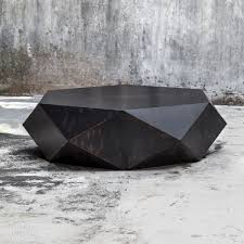 3 of 8 faceted large round wood coffee table modern geometric block solid