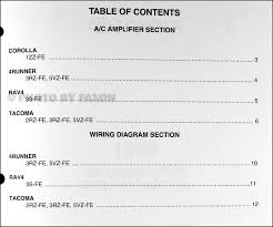 1999 toyota a c wiring diagram manual original corolla rav4 tacoma table of contents