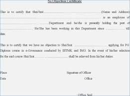 letter of non objection non objection certificate for job no objection certificate sample
