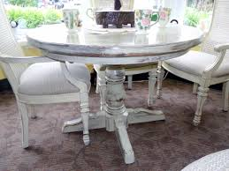shabby chic cream painted round oak pedestal table x4 chairs