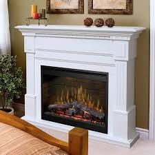 image of tall electric fireplace with mantel