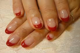 64選バレンタインにピンク赤の可愛いフレンチネイルデザイン