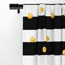 modern black white gold polka dots striped pattern window curtains