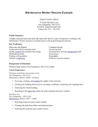 Maintenance Job Resume Maintenance Resume Sample Housekeeping Job Description Host Hostess 1