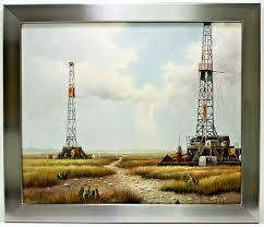 Texas Oil Derrick Fields 20 x 24 Art Oil Painting on Canvas w/Chrome Wood  Frame | eBay