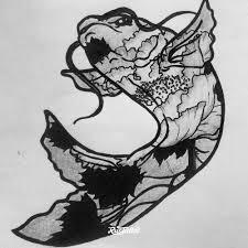 фото эскизы карп карп в стиле графика женские мужские черно белые