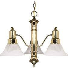 glomar 3 light polished brass chandelier with alabaster glass bell shades
